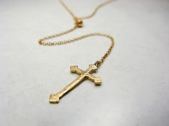 K18 gold gold handmade Rosary Cross Necklace