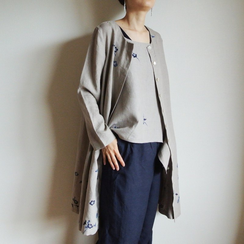 Linen coat dress plum