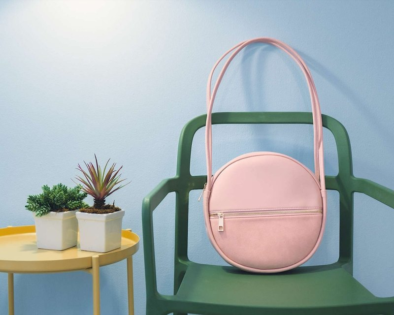 Go Round and Round Pink Leather Bag