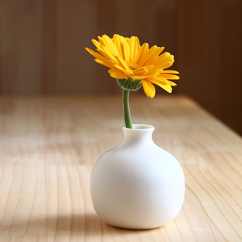 White Porcelain Small Flower Vase, Pottery, Ceramic