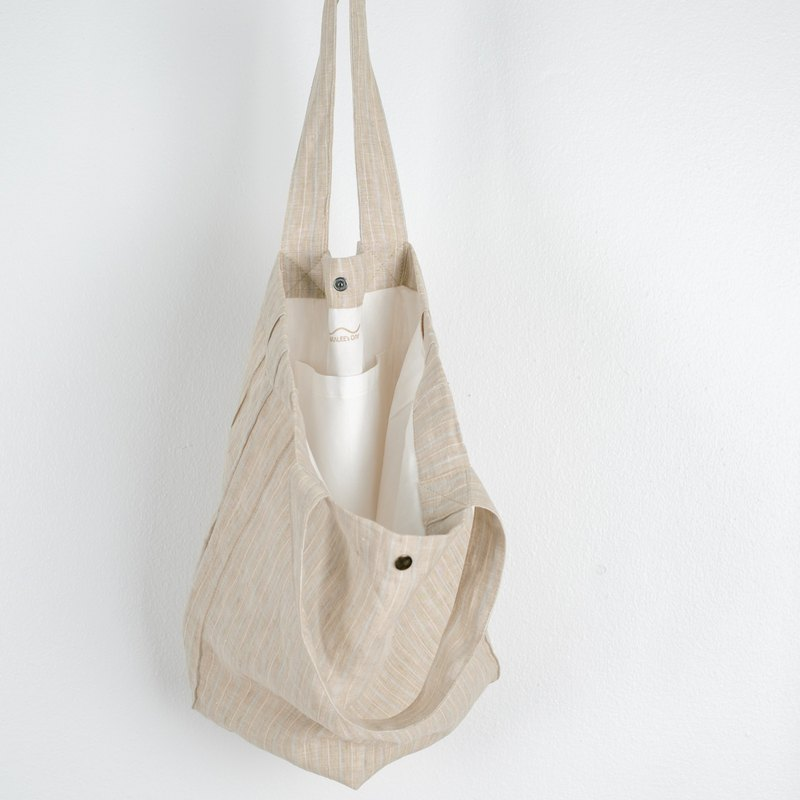 Casual Linen Tote Bag (Natural Striped)