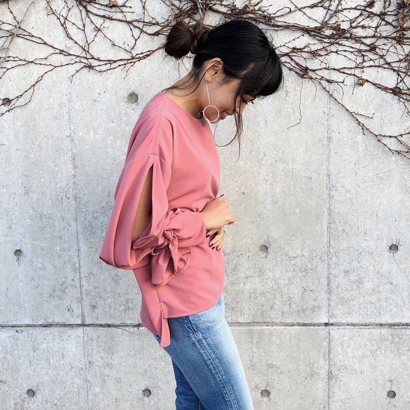 Pink candy sleeve · balloon sleeve · ribbon blouse
