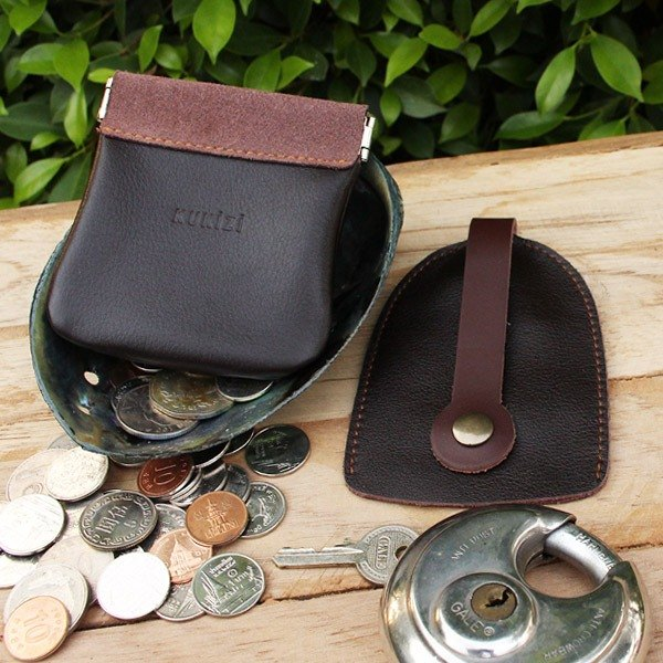 Set of Coin Bag & Key Case - Brown + Brown Strap (Genuine Cow Leather)