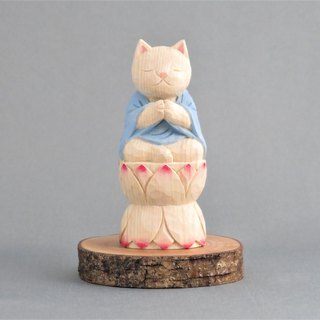 Wood carving cat, Cat to pray sitting in the lotus.011221