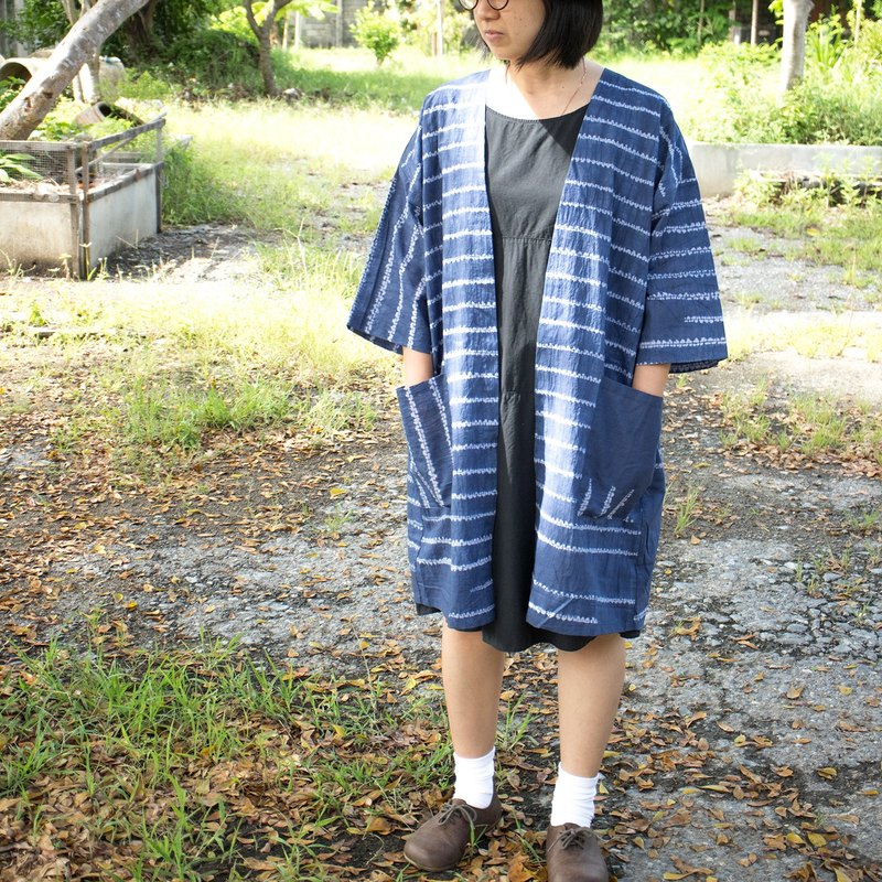 Blue long sleeve blouse - Ori nui pattern design Tie and dyeing shirt Shibori technique / Limited edition.