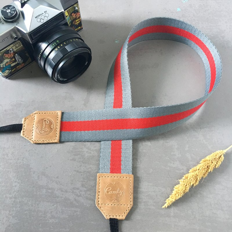 Gray Red Mirrorless or DSLR Camera Strap