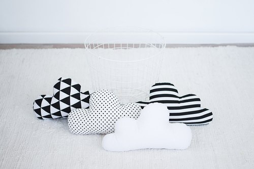 Set of 4! White and black cloud pillows