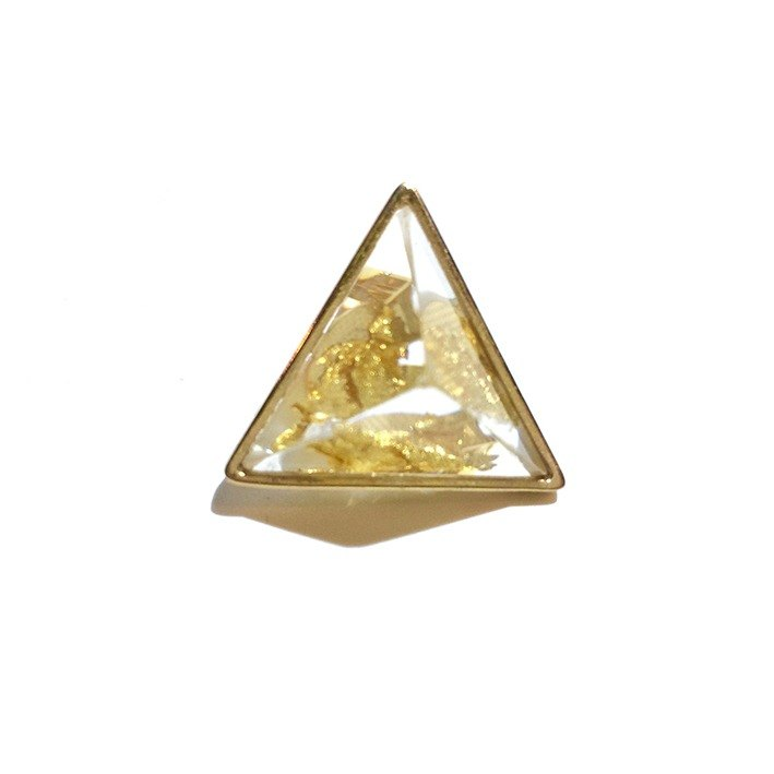 PRISM clip-on earring for one ear  gold leaf