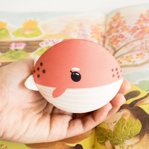 Pink whale Accessory purse. Japanese style bag.