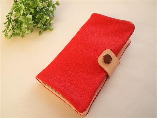 [Iphone6 ​​plus] classic Red [pig leather soft Sumahokaba] MTO [leather] red