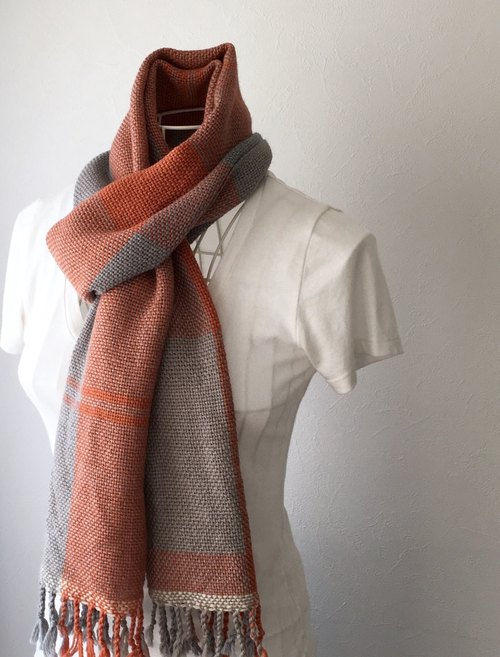 "[Wool and baby alpaca: Fall-Winter] unisex: hand-woven scarf ""Gray & Orange Mix"""