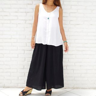 [New color! ] Adult cute wide flare Long pants <Black>