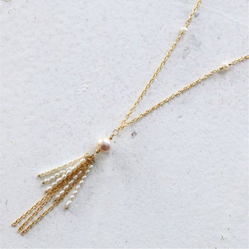 [Necklace] 14KGF + freshwater pearl fringe design necklace / FringeN01