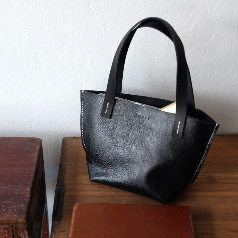 Tiny Little Black Tote / Small Handmade Black Bag.