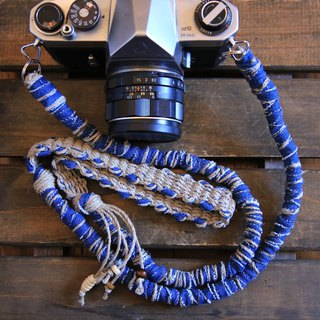 Faded Denim Tear Cloth Hemp Hemp Camera Strap / Double Ring