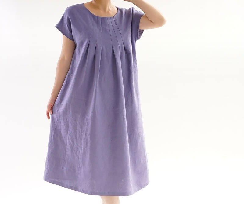 Linen front tuck dress / Violace Grize a2-16