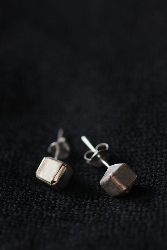 Handmade simple cube Silver Stud Earring (E0129)