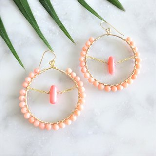 coral pink * wraped hoop pierce