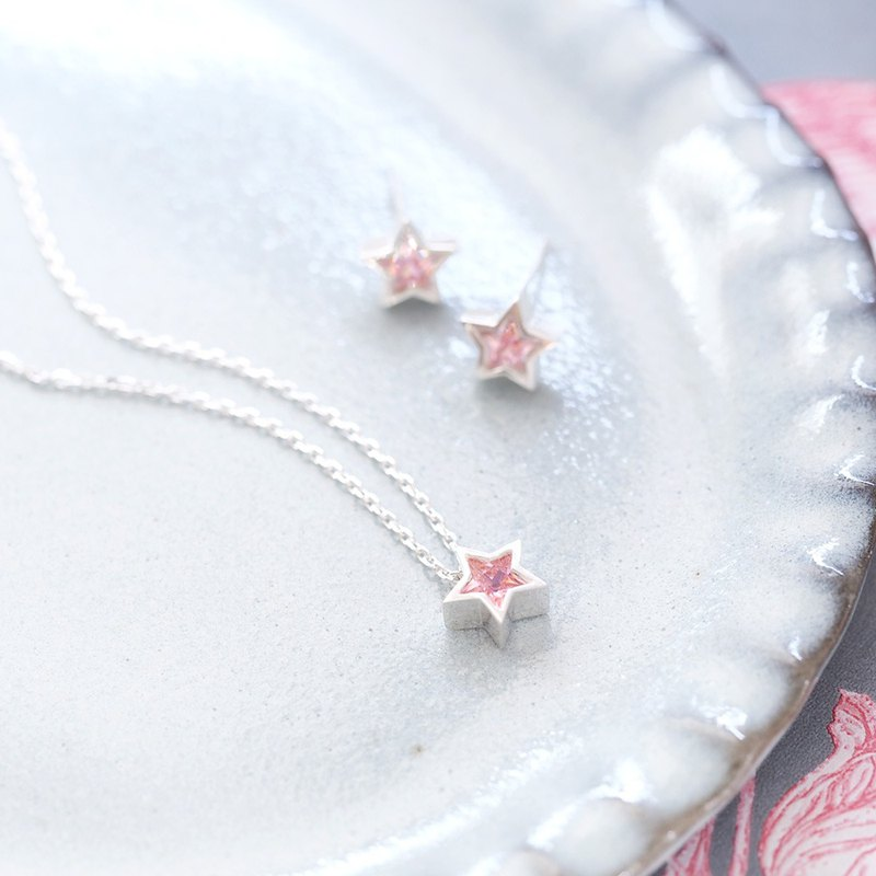 2 set) Pink star necklace earrings set silver 925