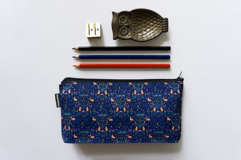 Rabbit zipper accessories pouch / Stationery pencil case - Midnight Blue