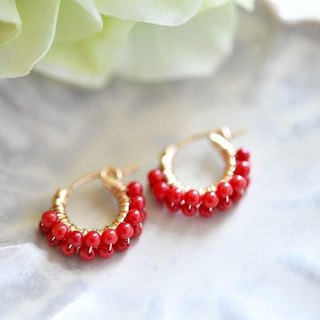 Raise luck Fascinate prosperity red coral (coral) double hoop earrings March birthstone