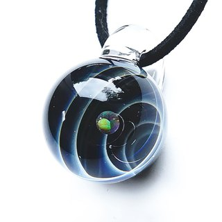 The world of Sirius. ver 2 Black pendant with opal opal planetary universe