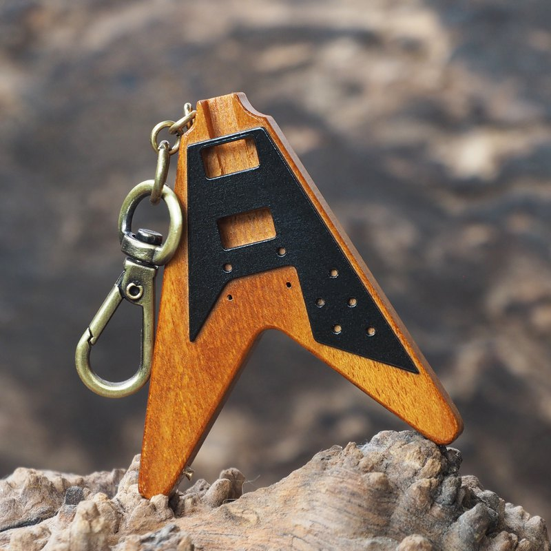 FLYING V KEYCHAIN (jackfruit wood)