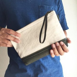 Simple pouch of vintage 8 canvas and goat leather tannin soft dumpling 【olive】