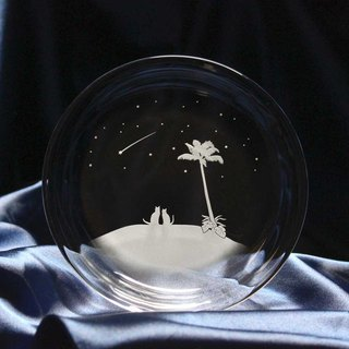 【Shooting star of the South Island】 A glass plate of a cat motif