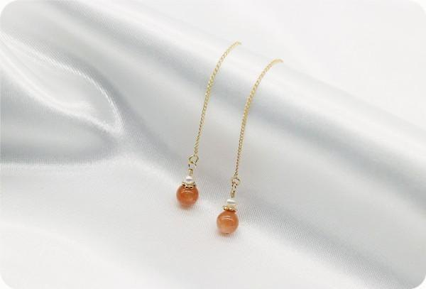 Sunstone and pearl American earrings / earrings available
