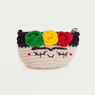 Crochet Coin Purse - Frida Kahlo No.4 | Crochet Coin Case | Small Round Pouch