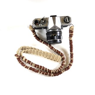 Fake leather and hemp hemp camera strap / double ring