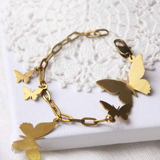 Brass Butterflies / Golden Butterflies / Linen Jewelry / Everyday Jewelry / Chain Bracelet.