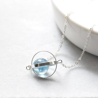 蓝蓝星球。宇宙。银环。蓝水晶。项链 Blue Blue Planet。Galaxy。Sliver Ring。Kyanite。Necklace。生日礼物。闺蜜礼物。姐妹礼物