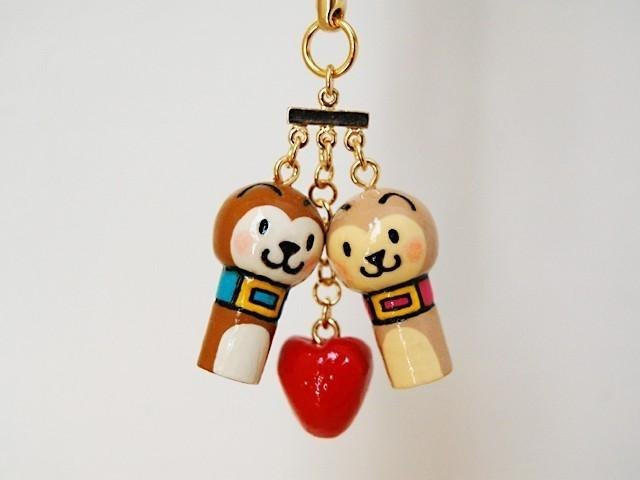 * Mini Kokeshi * of the man of the dog the Son and of the girl ♥ strap *