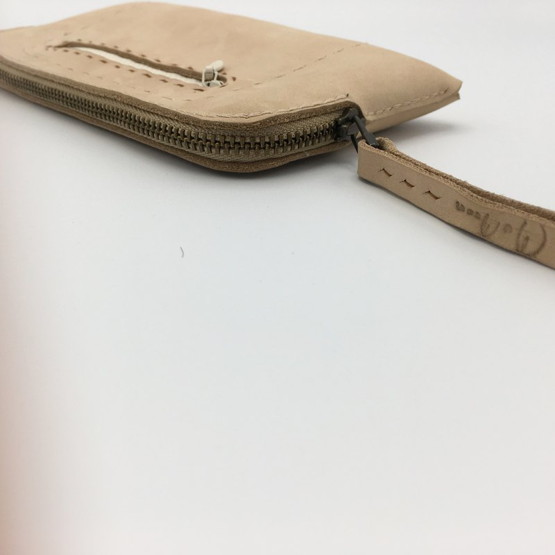 Handmade minimal designed long zipped wallet Small light cream genuine leather
