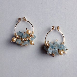 14 kgf aquamarine and vintage glass pearl hoop earrings ear lip ii - 507