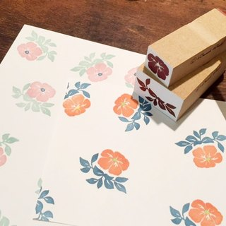 Multicolor stamp of flowers and leaves 3 stamp set
