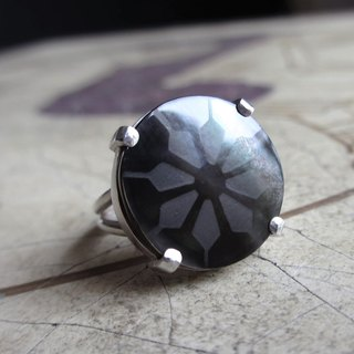 Japanese Pattern Silver Ring Small