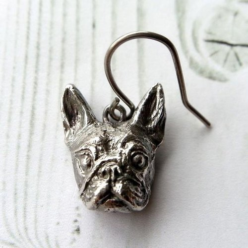 Boston Terrier silver925 & earrings titanium (one pair) boston terrier Bosuteri Buhi BUHI