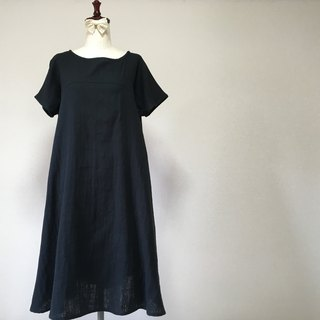 Black Flare One Piece Short Sleeve Double Gauze