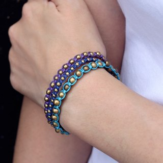Beaded Bracelets Punk Rock Studded Blue Raw Brass Strong Cuff